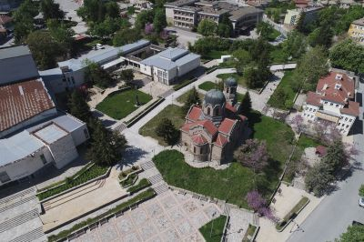 St. Archangel Michael Church. The church is located in a small beautiful park in the town's centre. The church's foundations were laid in 1908. - AM Veliki Preslav